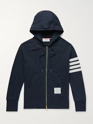Thom Browne Slim-Fit Striped Loopback Cotton-Jersey Zip-Up Hoodie - Men - Blue