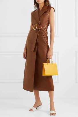 MATÉRIEL Belted Vegan Leather Dress - Brown