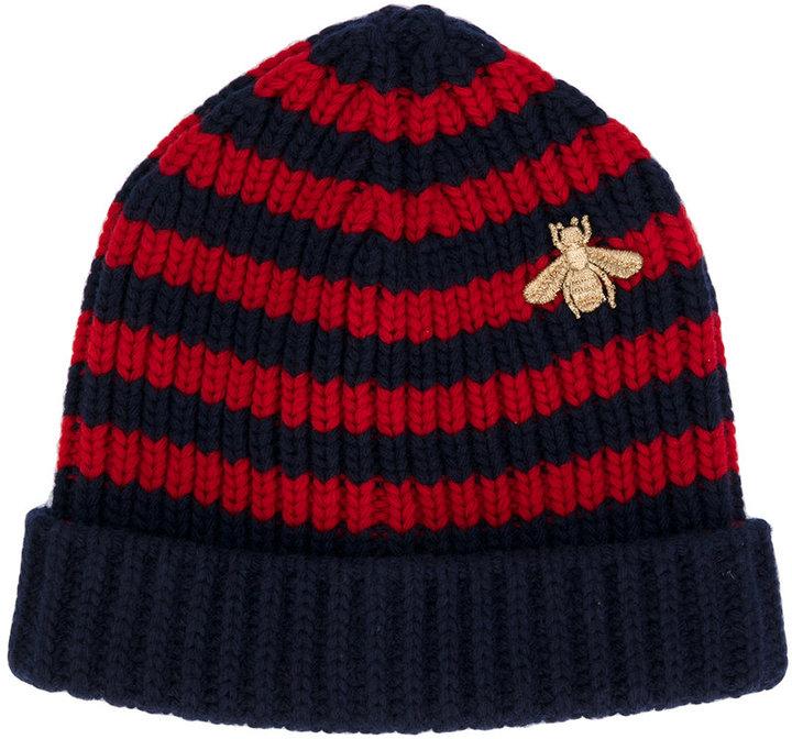 Gucci Bee striped beanie hat