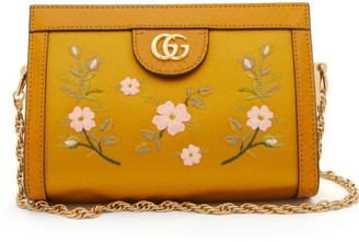 Gucci Ophidia Snake-trim Satin Cross-body Bag - Yellow Multi