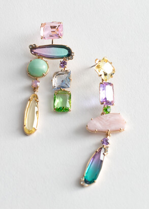 And other stories Rainbow Rhinestone Hanging Earrings