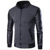 WSLCN Mens Vintage Pilot Jacket Faux Leather Sleeve