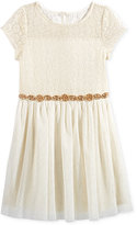 Sequin Hearts Beaded Lace Party Dress, Big Girls (7-16)