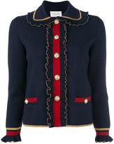 Gucci ruffled Web trim blazer - women - Polyester/Wool/Viscose/Metallic Fibre - XL