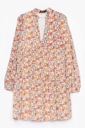 Nasty Gal Womens muted floral tierred floaty smock dress - Pink - 4, Pink