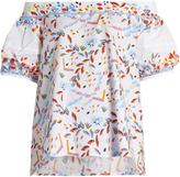 Peter Pilotto Abstract-print off-the-shoulder cotton-blend top