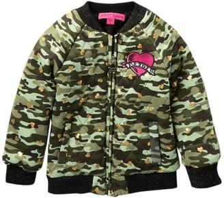 Betsey Johnson Camo Heart Bomber Jacket (Little Girls)
