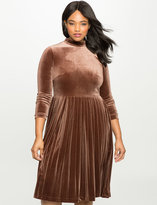 ELOQUII Plus Size Studio Pleated Velvet Mock Neck Dress