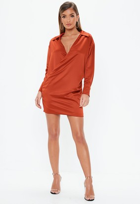 Missguided Rust Satin Wrap Shirt Dress