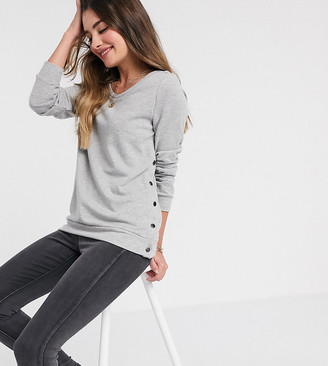 Mama Licious Mamalicious Maternity sweatshirt with popper side detail and nursing function in grey