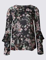 Marks and Spencer Floral Print Ruffle Sleeve Blouse
