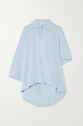 Lanvin Oversized Asymmetric Embroidered Cotton-pique Polo Shirt - Blue
