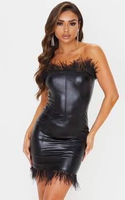 PrettyLittleThing Black Vinyl Feather Trim Bandeau Bodycon Dress