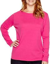 ST. JOHN'S BAY St. John's Bay Long-Sleeve Crewneck T-Shirt - Plus