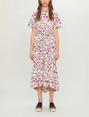 Me And Em Floral-print woven midi dress