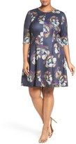 Gabby Skye Floral Print Scuba Knit Fit & Flare Dress (Plus Size)