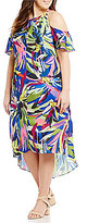 Gibson & Latimer Plus Tropical Floral Print Dress with Cold-Shoulder Detail