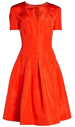 Oscar de la Renta Short-Sleeve Silk Flare Dress