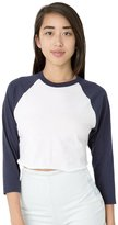 American Apparel Women's Poly-Cotton Cropped 3/4 Sleeve Raglan, White/Navy