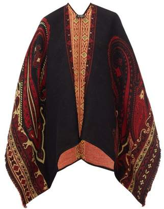 Etro Paisley Jacquard Wool Blend Fringed Cape - Womens - Black