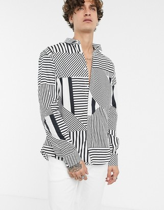 Twisted Tailor super skinny fit shirt in mix direction stripe-White