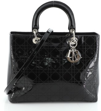 Christian Dior Lady Bag Stitched Cannage Patent Large