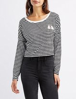Charlotte Russe Patch Striped Skimmer Tee