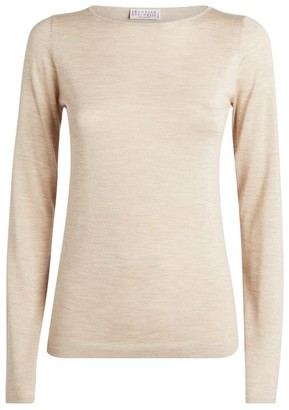 Brunello Cucinelli Cashmere-Silk Long-Sleeved T-Shirt