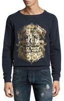 Pierre Balmain The Rock Baroque Metallic-Print Sweatshirt, Blue