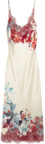 Carine Gilson Chantilly Lace-trimmed Printed Silk-satin Nightdress - Ivory