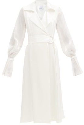 Galvan Balloon-sleeved Satin Wrap Dress - White