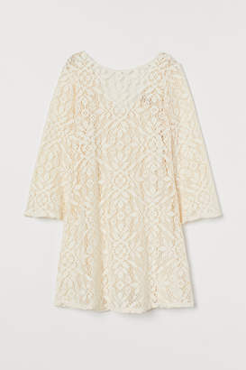 H&M Trumpet-sleeved Lace Dress - White