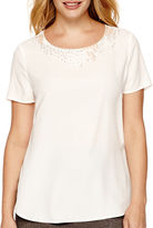 Liz Claiborne Short-Sleeve Beaded Woven T-Shirt - Tall