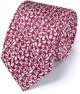 Magenta Silk Classic Abstract Texture Tie Size Osfa