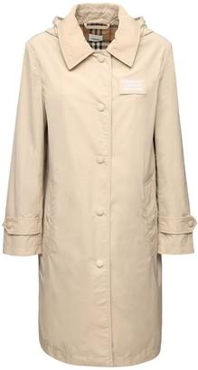 Burberry Mylon Long Hooded Rain Coat