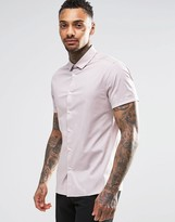 Asos Skinny Shirt In Dusty Pink With Short Sleeves