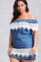Forever 21 FOREVER 21+ Plus Size Crochet Denim Tunic