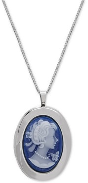 """Macy's Oval Cameo Locket 18"""" Pendant Necklace in Sterling Silver"""