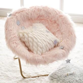 Pottery Barn Teen Himalayan Faux-Fur Blush Hang-A-Round Chair