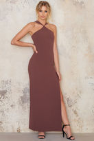 Cross Front Neck Long Slit Dress
