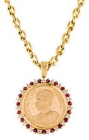 14K Diamond & Ruby Coin Pendant Necklace