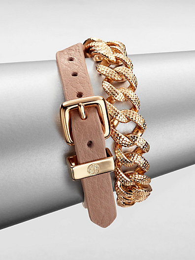 Marc by Marc Jacobs Leather and Chain Double-Wrap Bracelet/Nude