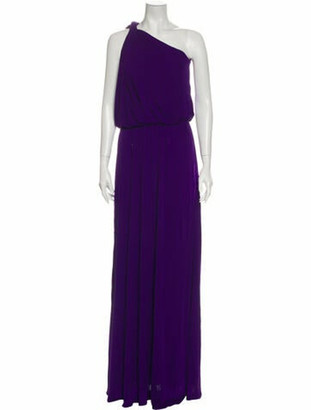 Lanvin One-Shoulder Long Dress Purple