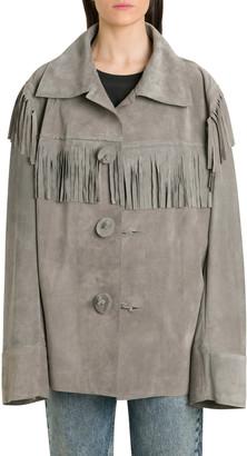 Maison Margiela Single-breasted Suede Jacket With Fringes