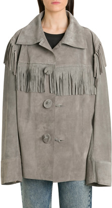 Maison Margiela Suede Calf Leather Fringed Jacket