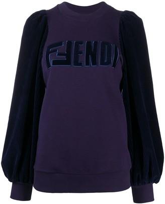 Fendi Velvet Puff Sleeve Sweatshirt