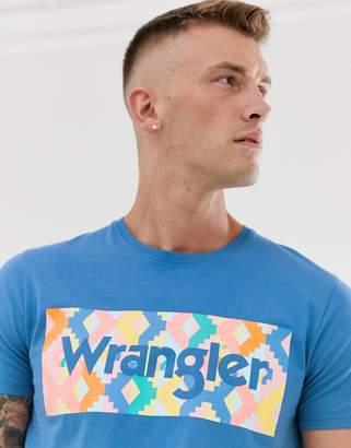 Wrangler rainbow chest box logo t-shirt in blue