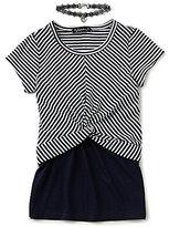 Xtraordinary Big Girls 7-16 Striped/Solid 2-Fer Top