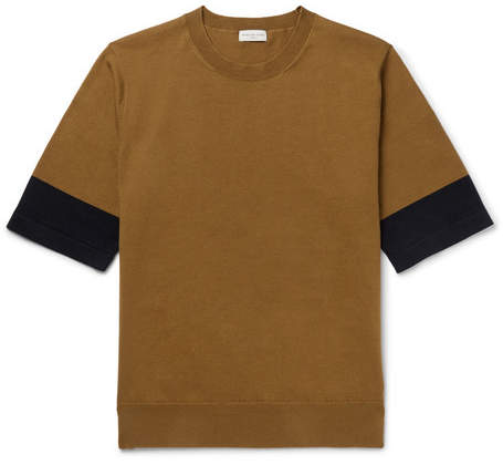 Dries Van Noten Two-Tone Knitted Cotton T-Shirt