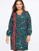 ELOQUII Printed Gathered V Neck Dress